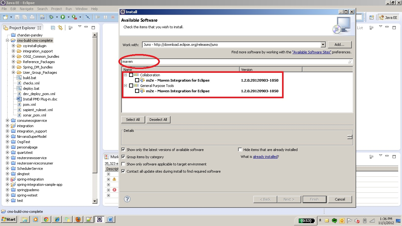 Adding maven plugin to eclipse and setting up first project